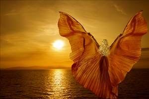 Woman With Butterfly Wings Flying On Fantasy Sea Sunset, Relaxation Meditation Concept